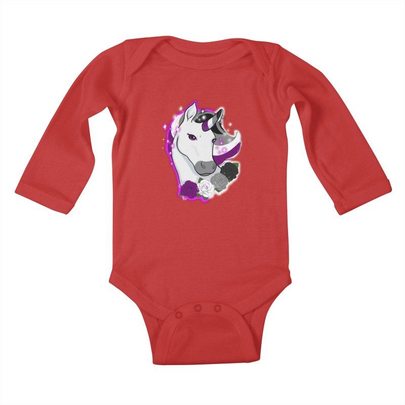 Asexual pride unicorn Kids Baby Longsleeve Bodysuit by AnimeGravy