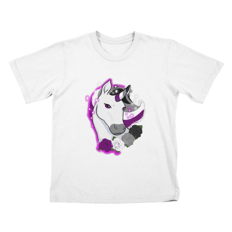 Asexual pride unicorn Kids T-Shirt by Animegravy's Artist Shop