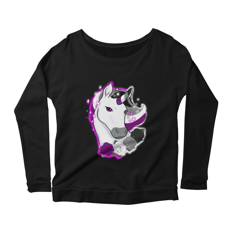 Asexual pride unicorn Women's Scoop Neck Longsleeve T-Shirt by AnimeGravy