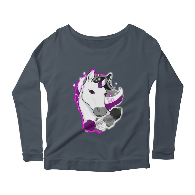 Asexual pride unicorn Women's Scoop Neck Longsleeve T-Shirt by AnimeGravy
