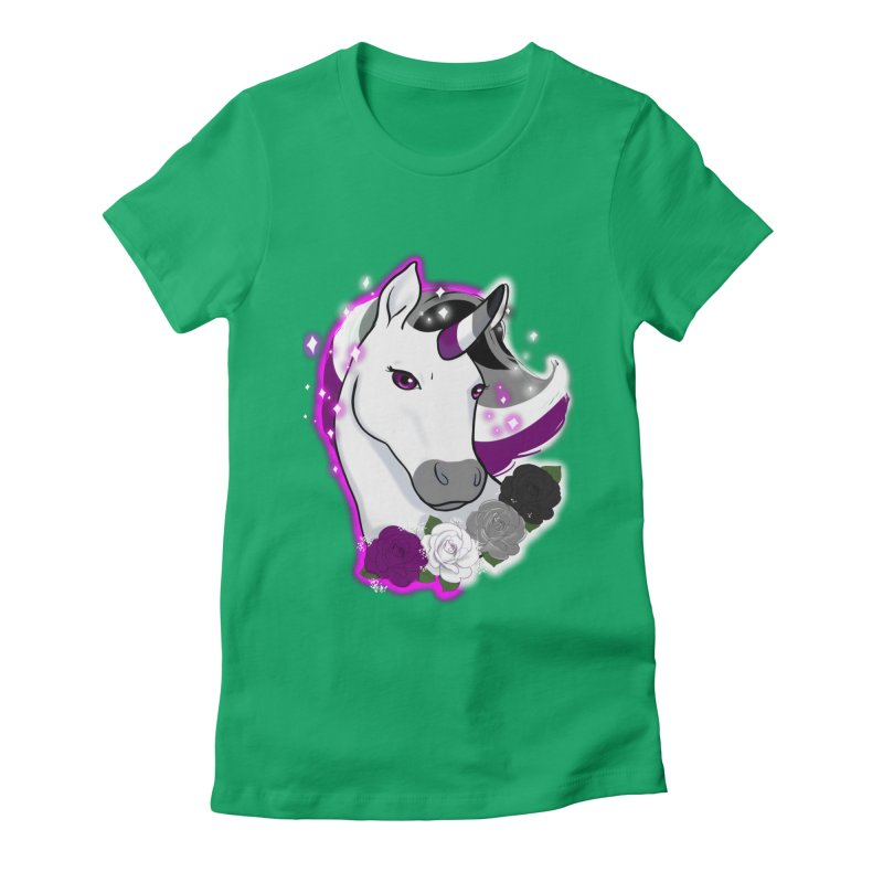 Asexual pride unicorn Women's Fitted T-Shirt by AnimeGravy