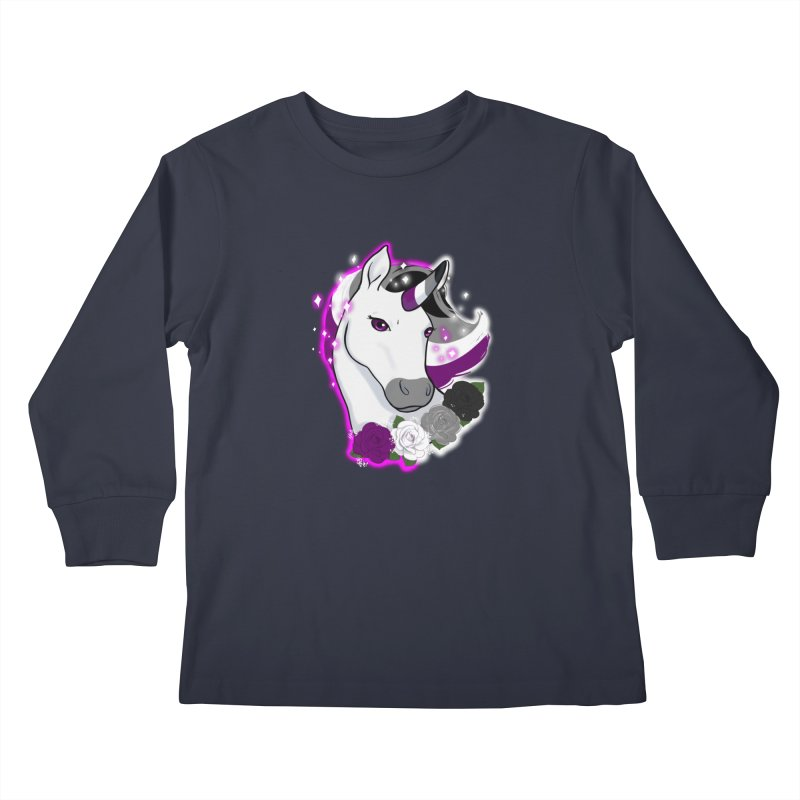 Asexual pride unicorn Kids Longsleeve T-Shirt by AnimeGravy