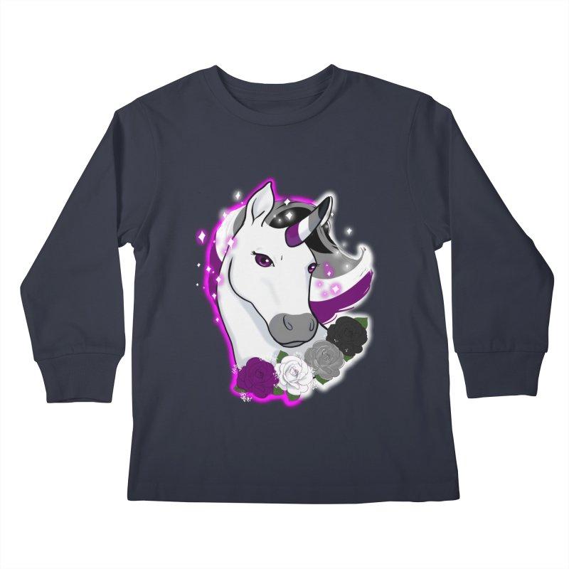 Asexual pride unicorn Kids Longsleeve T-Shirt by AnimeGravy