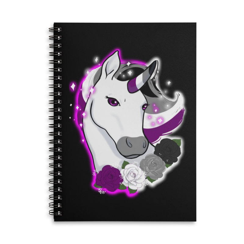 Asexual pride unicorn Accessories Lined Spiral Notebook by AnimeGravy