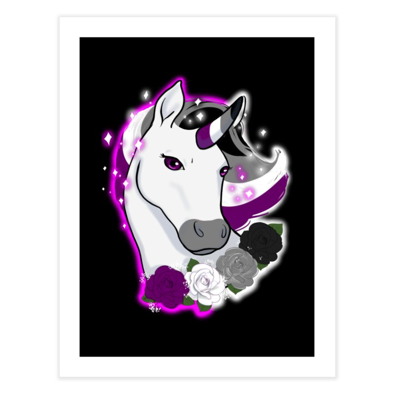 Asexual pride unicorn Home Fine Art Print by AnimeGravy