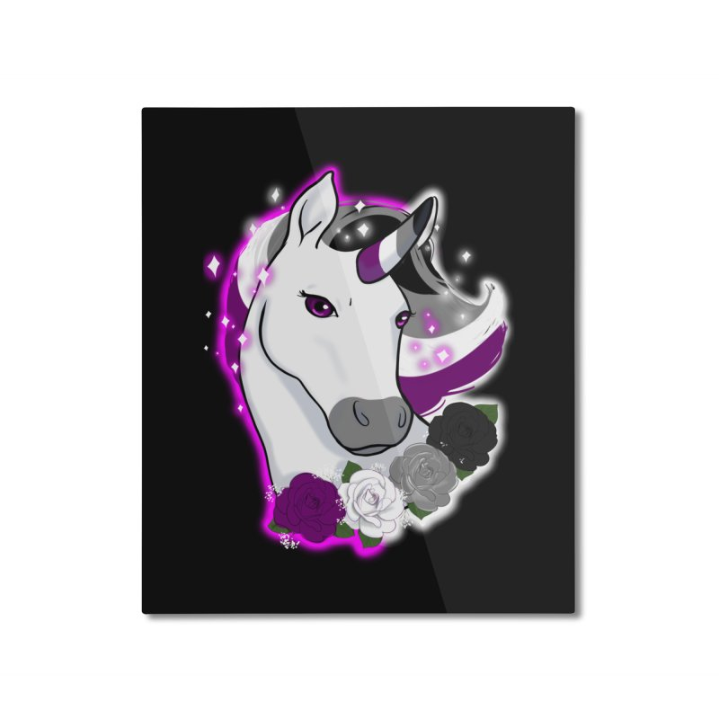 Asexual pride unicorn Home Mounted Aluminum Print by AnimeGravy