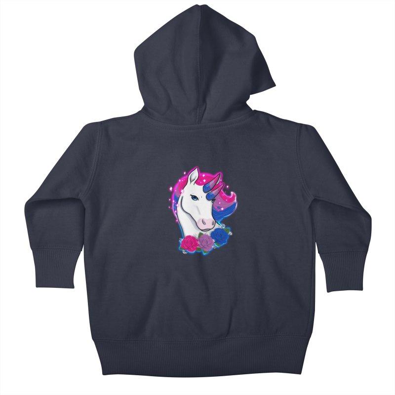 Bisexual Pride Unicorn Kids Baby Zip-Up Hoody by AnimeGravy