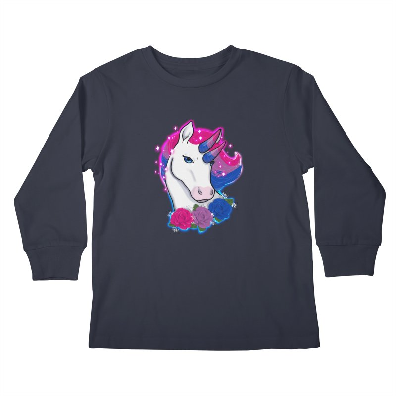 Bisexual Pride Unicorn Kids Longsleeve T-Shirt by AnimeGravy