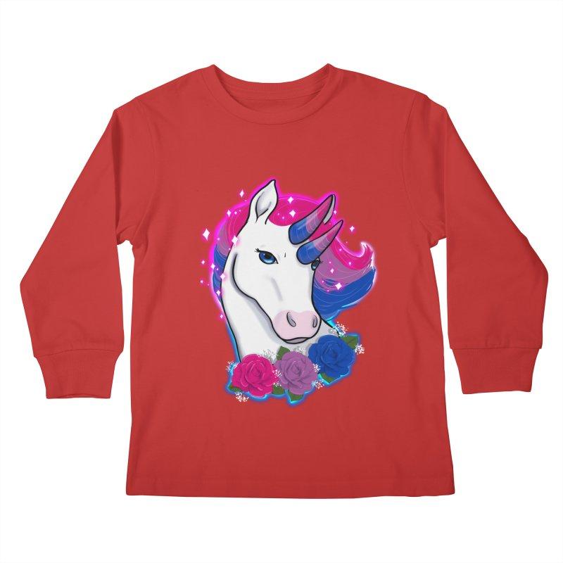 Bisexual Pride Unicorn Kids Longsleeve T-Shirt by AnimeGravy