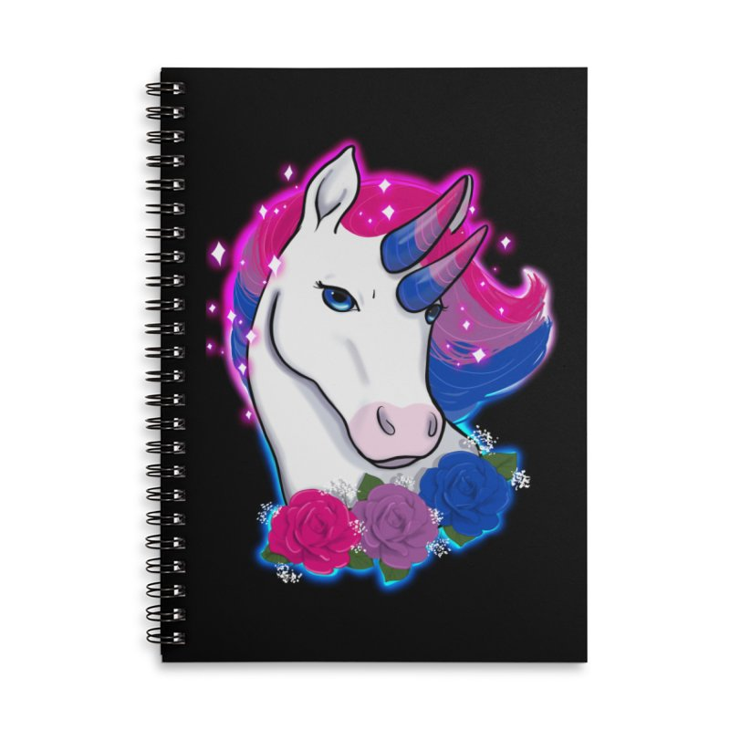 Bisexual Pride Unicorn Accessories Lined Spiral Notebook by AnimeGravy
