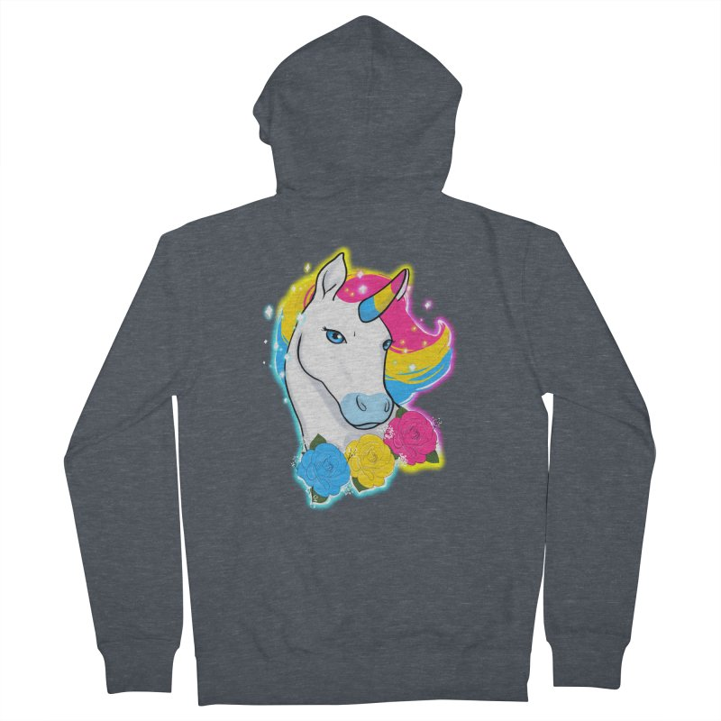 Pansexual pride unicorn Women's French Terry Zip-Up Hoody by Animegravy's Artist Shop