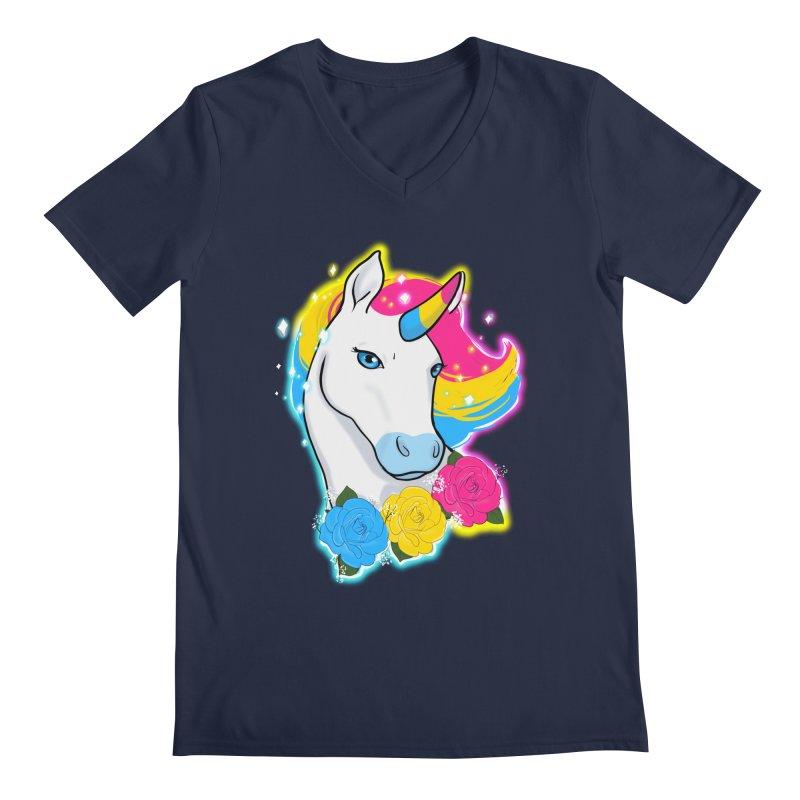 Pansexual pride unicorn Men's Regular V-Neck by Animegravy's Artist Shop