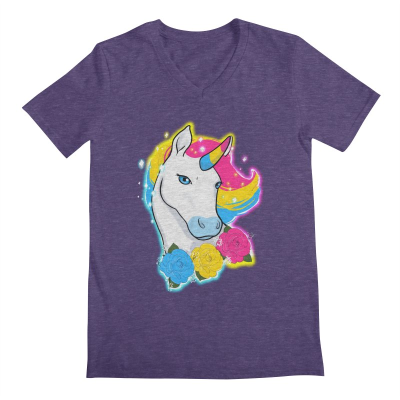 Pansexual pride unicorn Men's Regular V-Neck by AnimeGravy