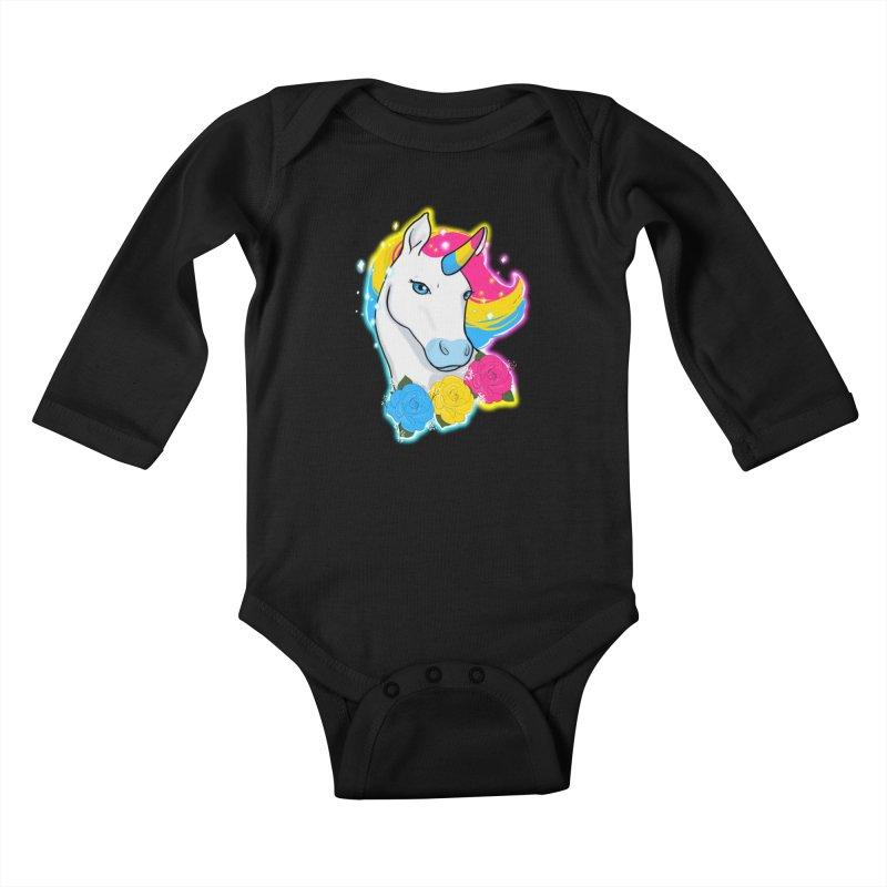 Pansexual pride unicorn Kids Baby Longsleeve Bodysuit by AnimeGravy