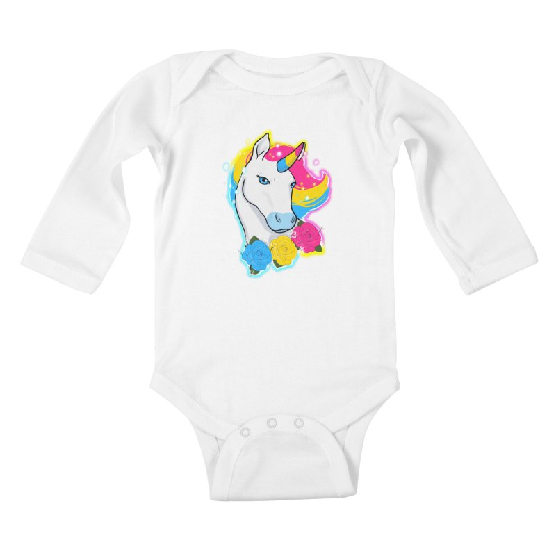 Pansexual pride unicorn Kids Baby Longsleeve Bodysuit by AnimeGravy