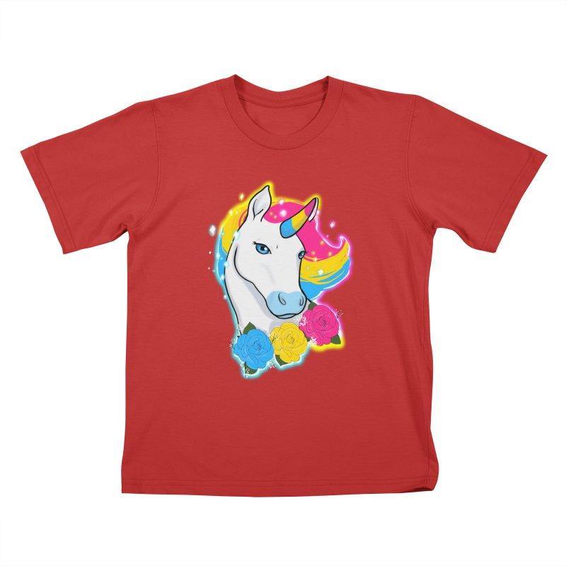 Pansexual pride unicorn Kids T-Shirt by AnimeGravy