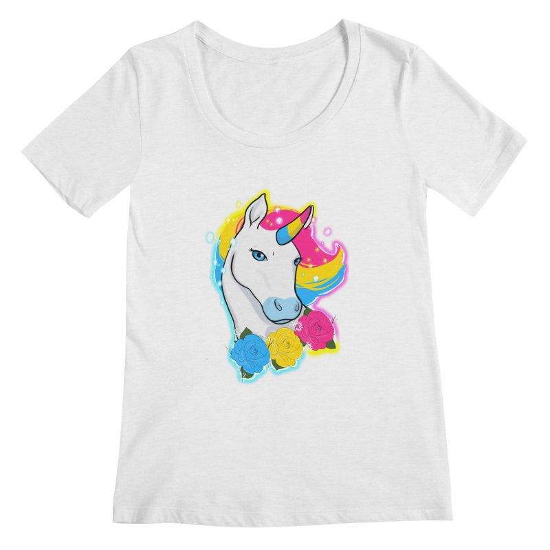 Pansexual pride unicorn Women's Regular Scoop Neck by AnimeGravy