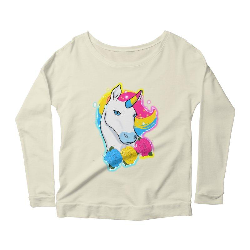 Pansexual pride unicorn Women's Scoop Neck Longsleeve T-Shirt by Animegravy's Artist Shop