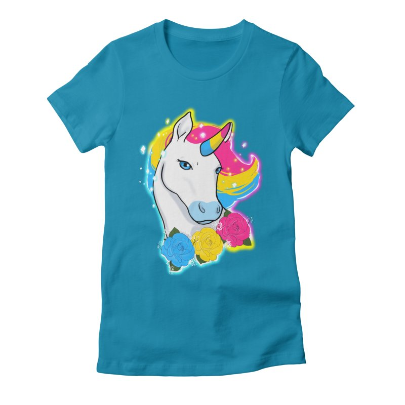 Pansexual pride unicorn Women's Fitted T-Shirt by Animegravy's Artist Shop