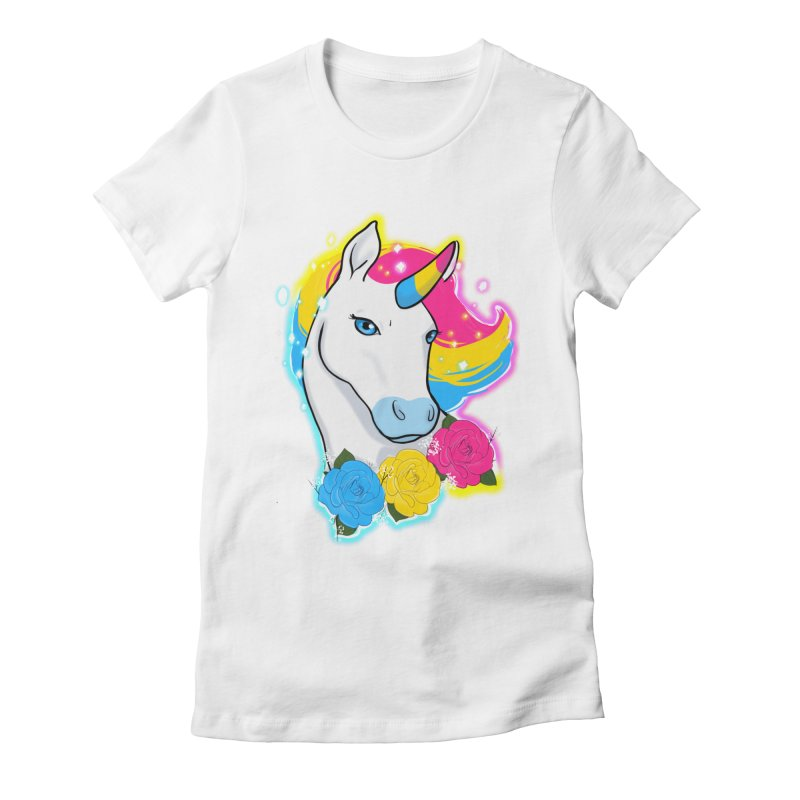 Pansexual pride unicorn Women's Fitted T-Shirt by AnimeGravy