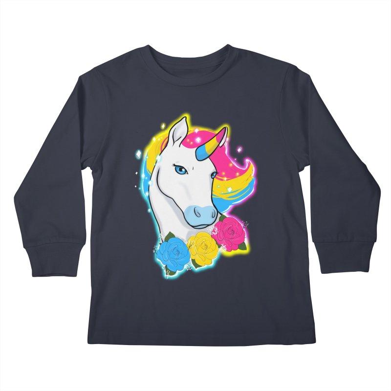 Pansexual pride unicorn Kids Longsleeve T-Shirt by AnimeGravy