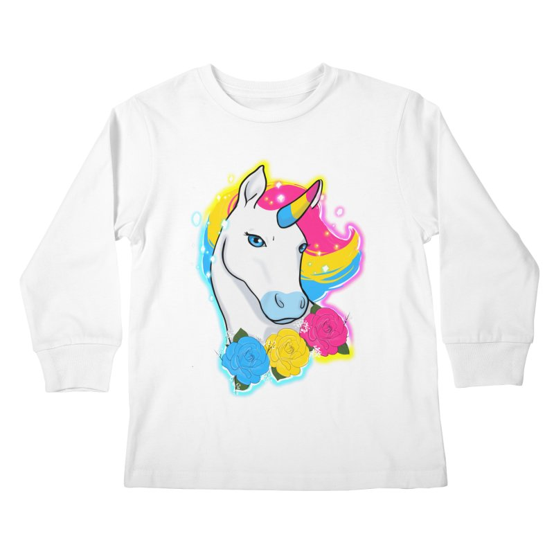 Pansexual pride unicorn Kids Longsleeve T-Shirt by AnimeGravy