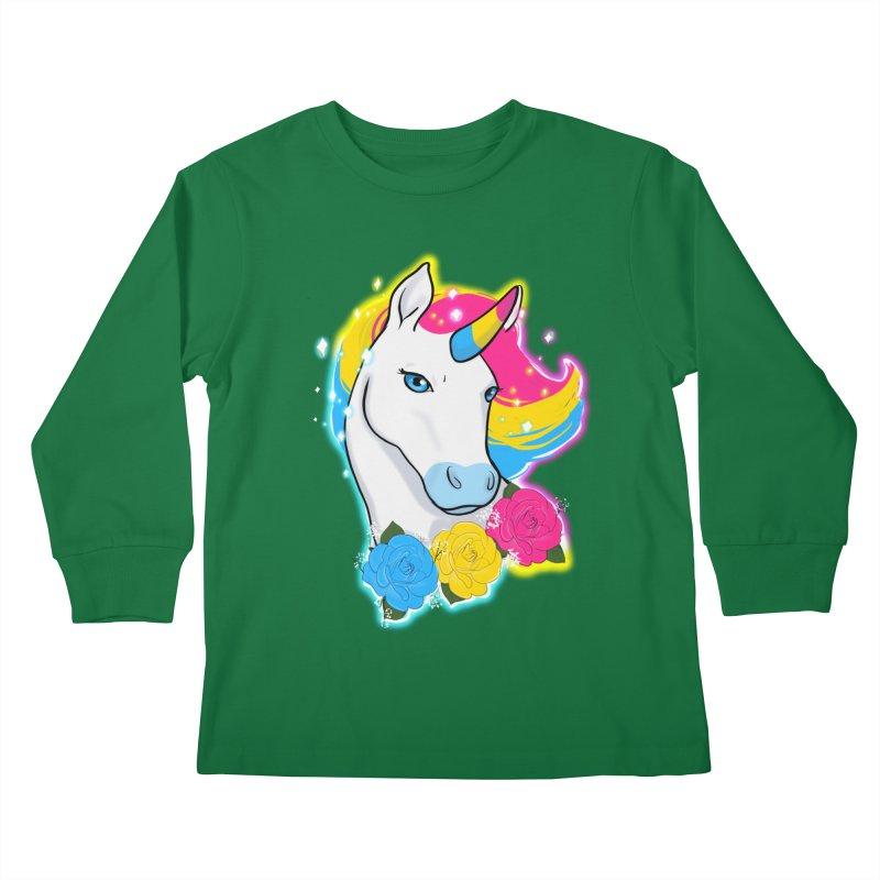 Pansexual pride unicorn Kids Longsleeve T-Shirt by Animegravy's Artist Shop