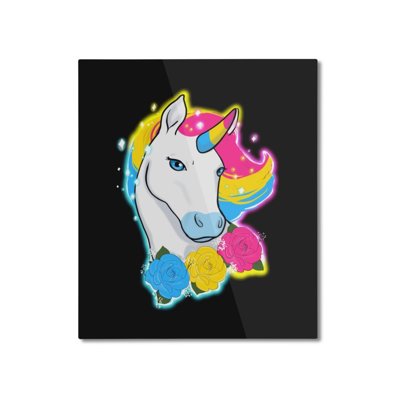 Pansexual pride unicorn Home Mounted Aluminum Print by AnimeGravy