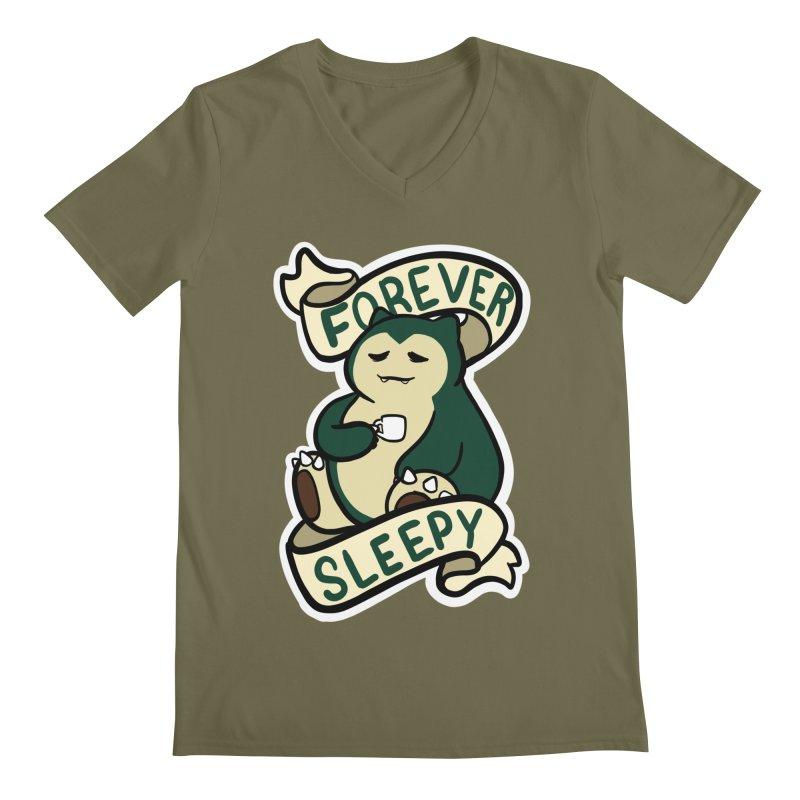 Forever sleepy Snorlax Men's Regular V-Neck by AnimeGravy