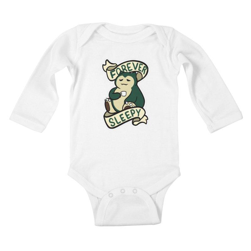 Forever sleepy Snorlax Kids Baby Longsleeve Bodysuit by AnimeGravy