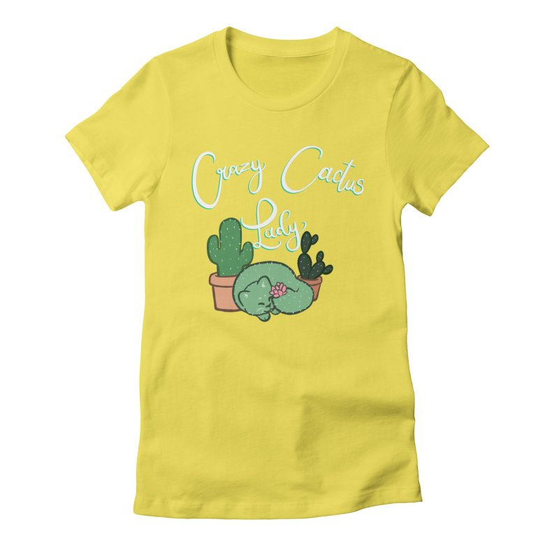 Crazy Cactus Lasy Women's Fitted T-Shirt by AnimeGravy
