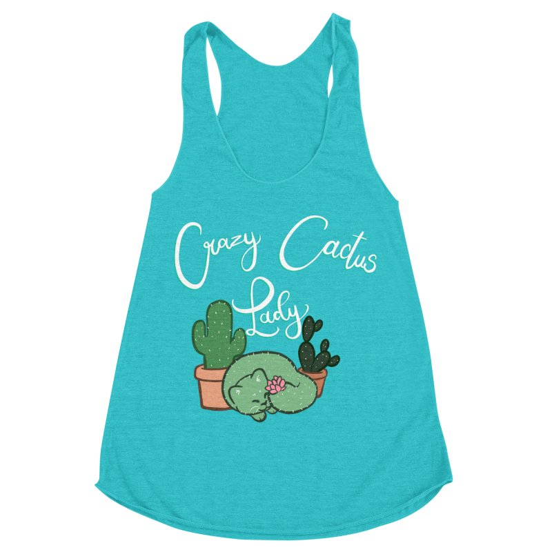 Crazy Cactus Lasy Women's Racerback Triblend Tank by AnimeGravy