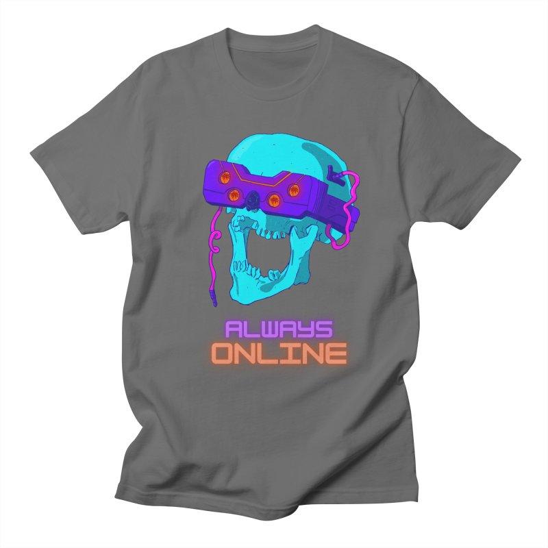 Always Online (text) Men's T-Shirt by Sketchworks by Antonio Tyler