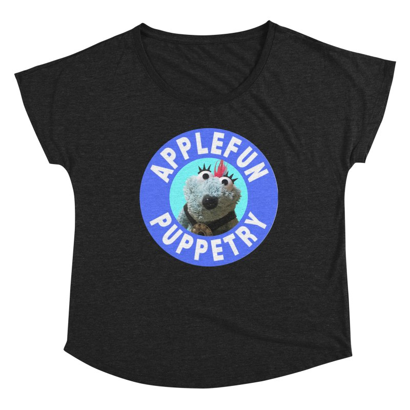 Applefun Puppetry - Doctor Bluecheese the Time Traveling Barbarian Women's Scoop Neck by Applefun's Artist Shop