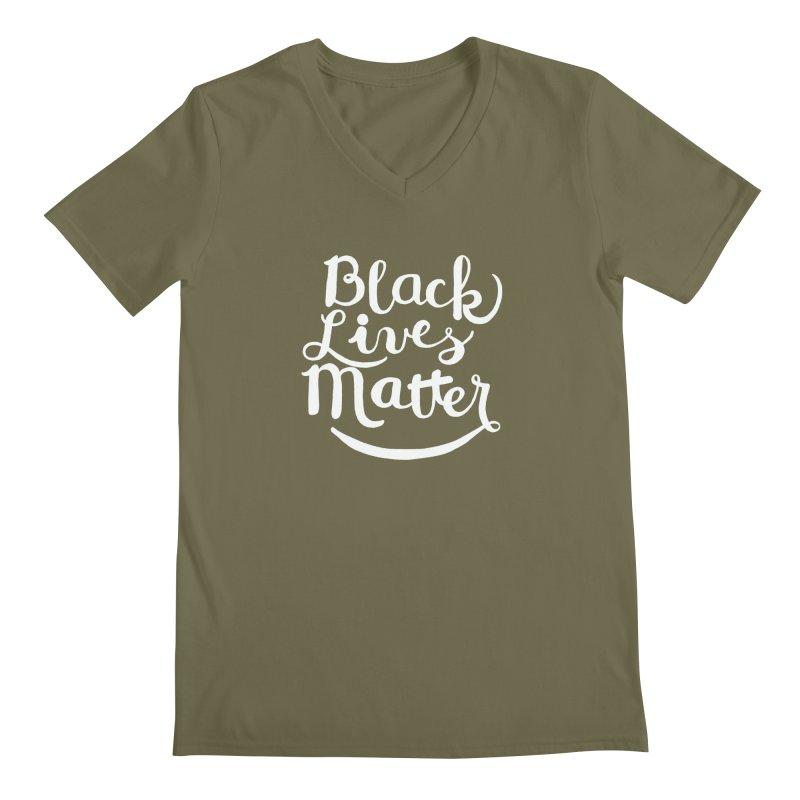 Black Lives Matter - White Text Men's V-Neck by April Marie Mai's Shop