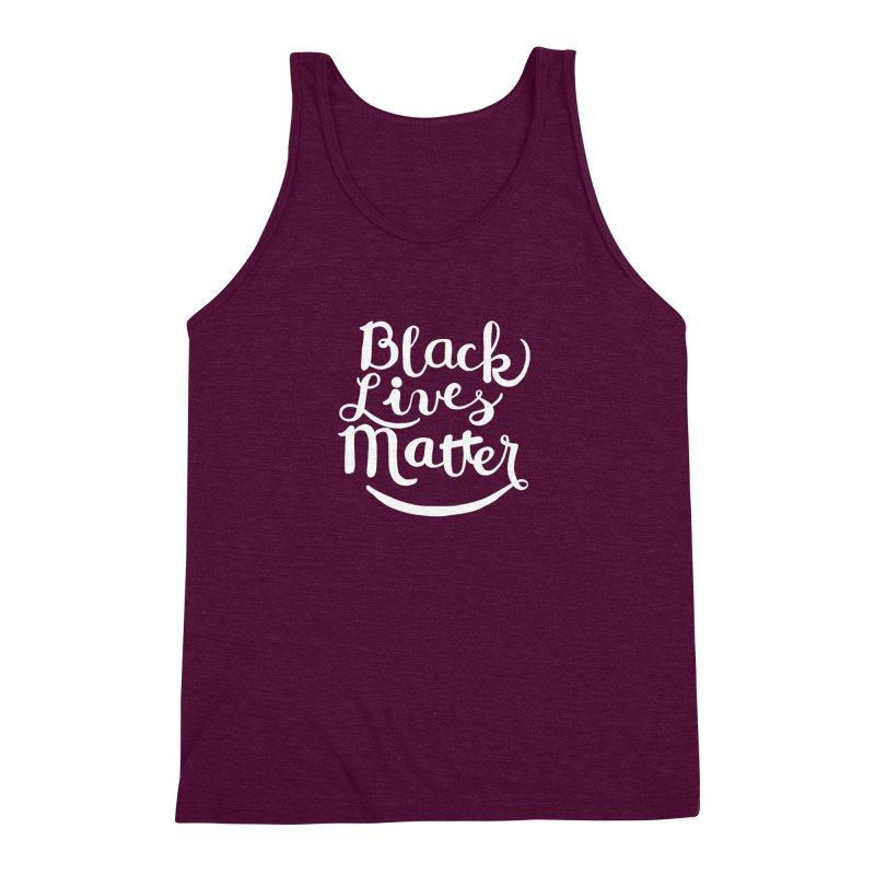 Black Lives Matter - White Text Men's Triblend Tank by April Marie Mai's Shop