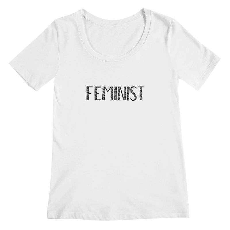 Feminist in Black Women's Scoopneck by April Marie Mai's Shop