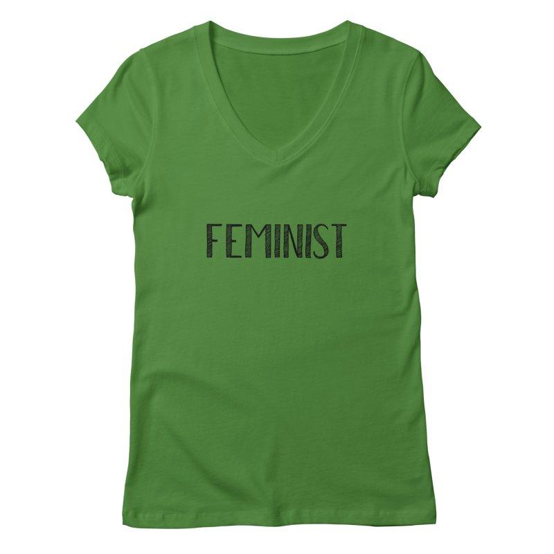 Feminist in Black Women's Regular V-Neck by April Marie Mai's Shop
