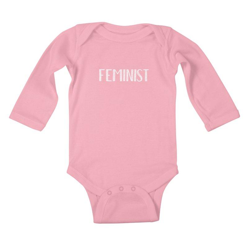 Feminist in White Kids Baby Longsleeve Bodysuit by April Marie Mai's Shop