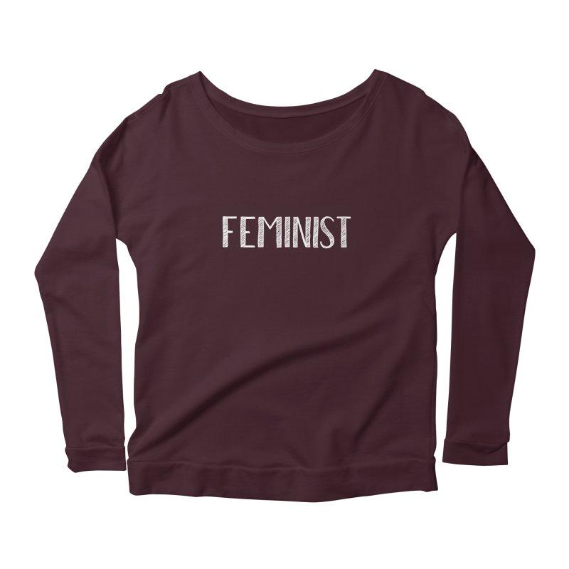 Feminist in White Women's Longsleeve Scoopneck  by April Marie Mai's Shop
