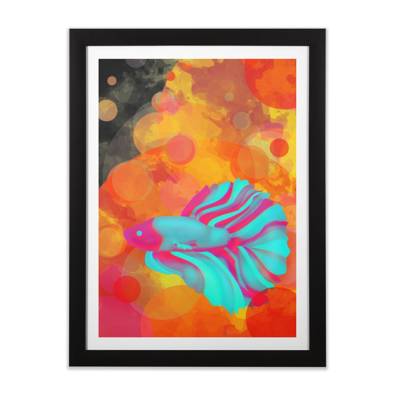 Neon Fish Home Framed Fine Art Print by ARIOM