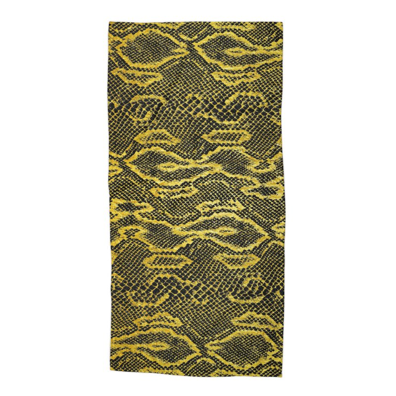 Black and Gold Snake Skin Accessories Beach Towel by Art Design Works