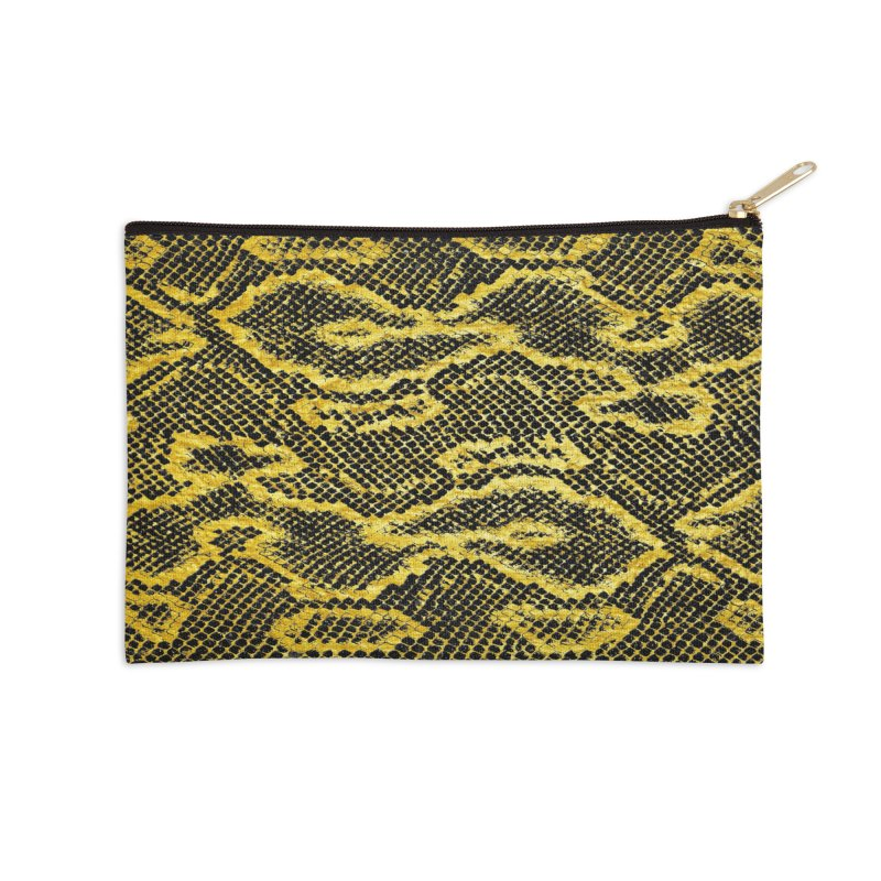 Black and Gold Snake Skin Accessories Zip Pouch by Art Design Works