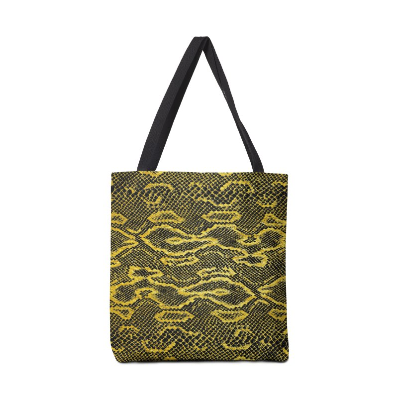 Black and Gold Snake Skin Accessories Bag by Art Design Works