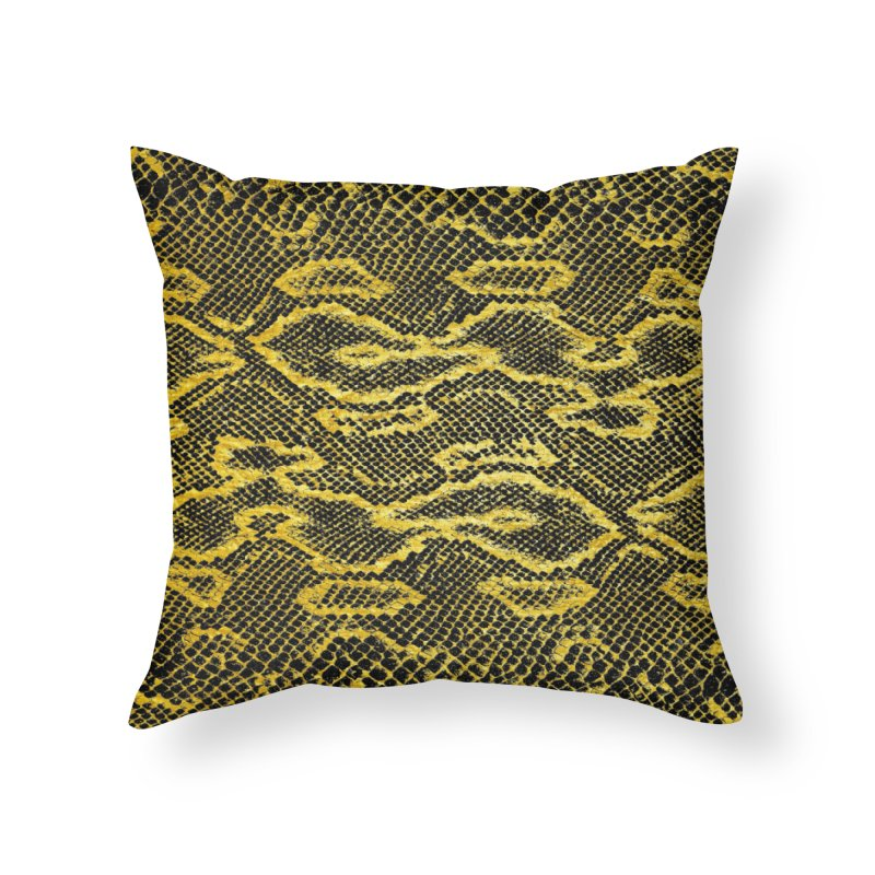 Black and Gold Snake Skin Home Throw Pillow by Art Design Works
