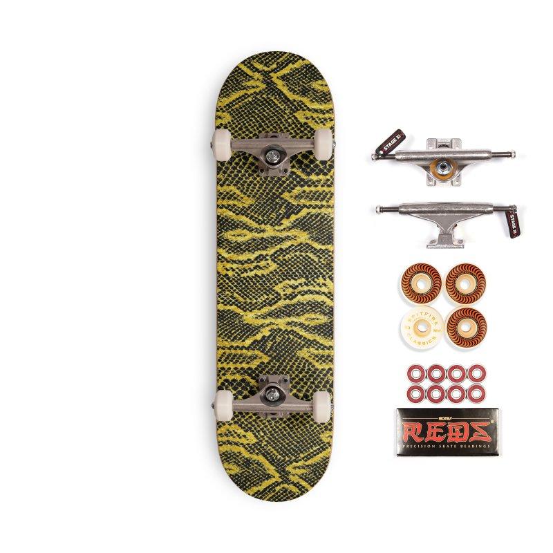 Black and Gold Snake Skin Accessories Skateboard by Art Design Works