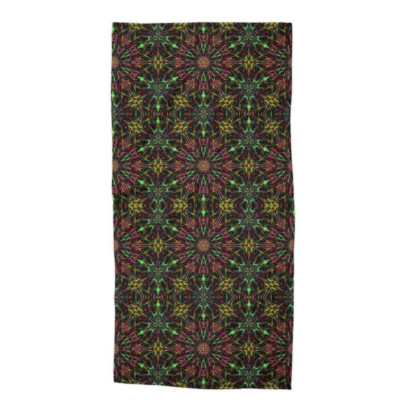 Colorful Mandala Pattern Accessories Beach Towel by Art Design Works