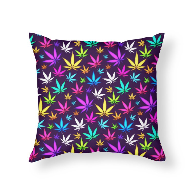 Colorful OG Herb Pattern Home Throw Pillow by Art Design Works
