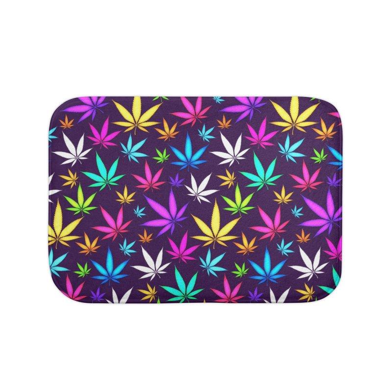 Colorful OG Herb Pattern Home Bath Mat by Art Design Works