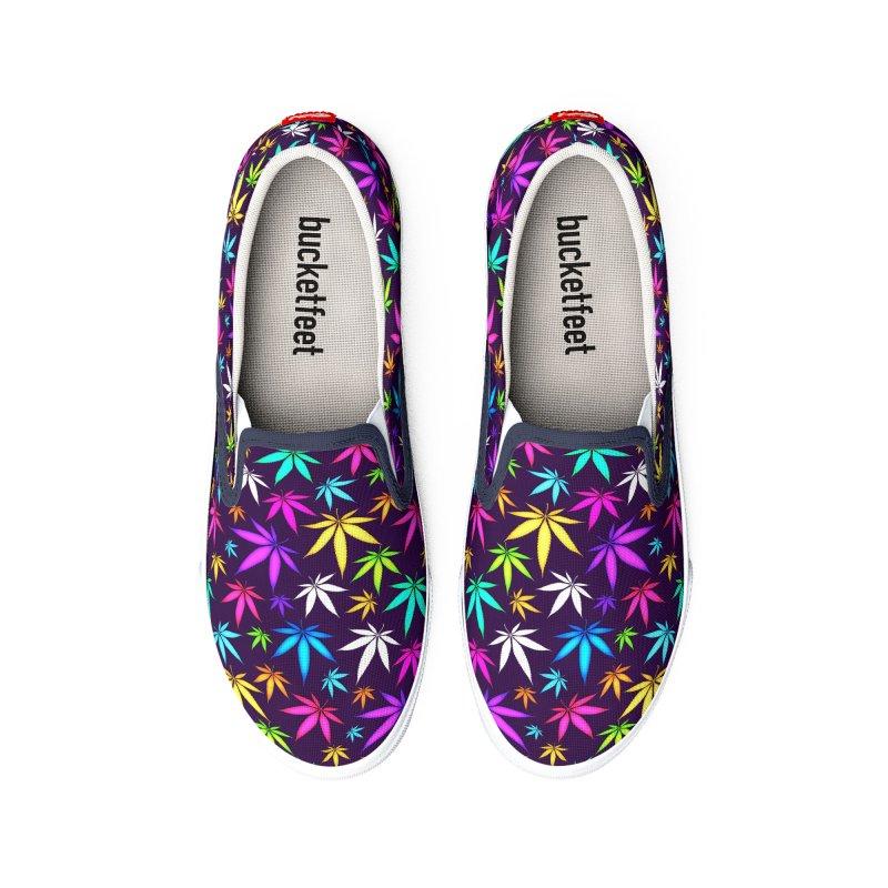 Colorful OG Herb Pattern Men's Shoes by Art Design Works